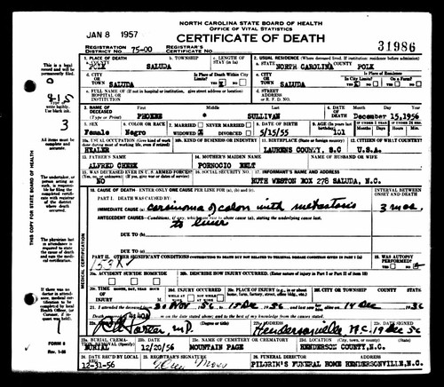 Phoebia Sullivan Death Certificate