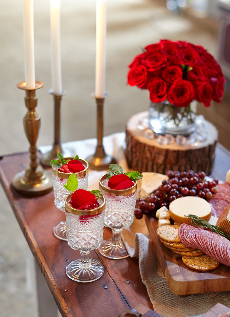 rustic table setting for The Bachelor viewing party with r
