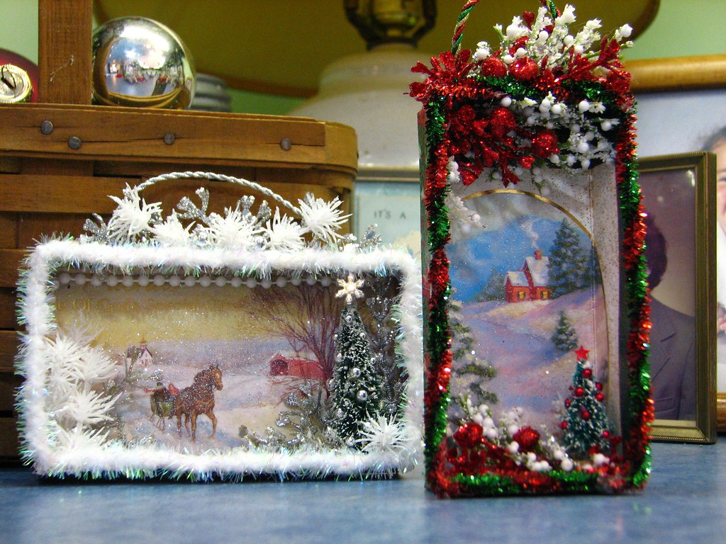 Shadow Boxes Made From Christmas Cards Tutorial