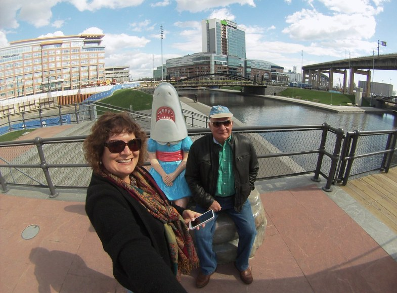 #SharkGirlSelfie - Me and My Dad with the - Shark Girl Statue in Buffalo, N.Y., May 1, 2015