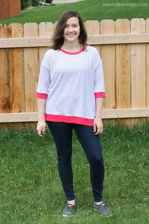Pink and white Grainline Hemlock