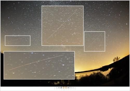 Uitvergroting van een van de satellieten (rechts) en een vliegtuig (rechts)