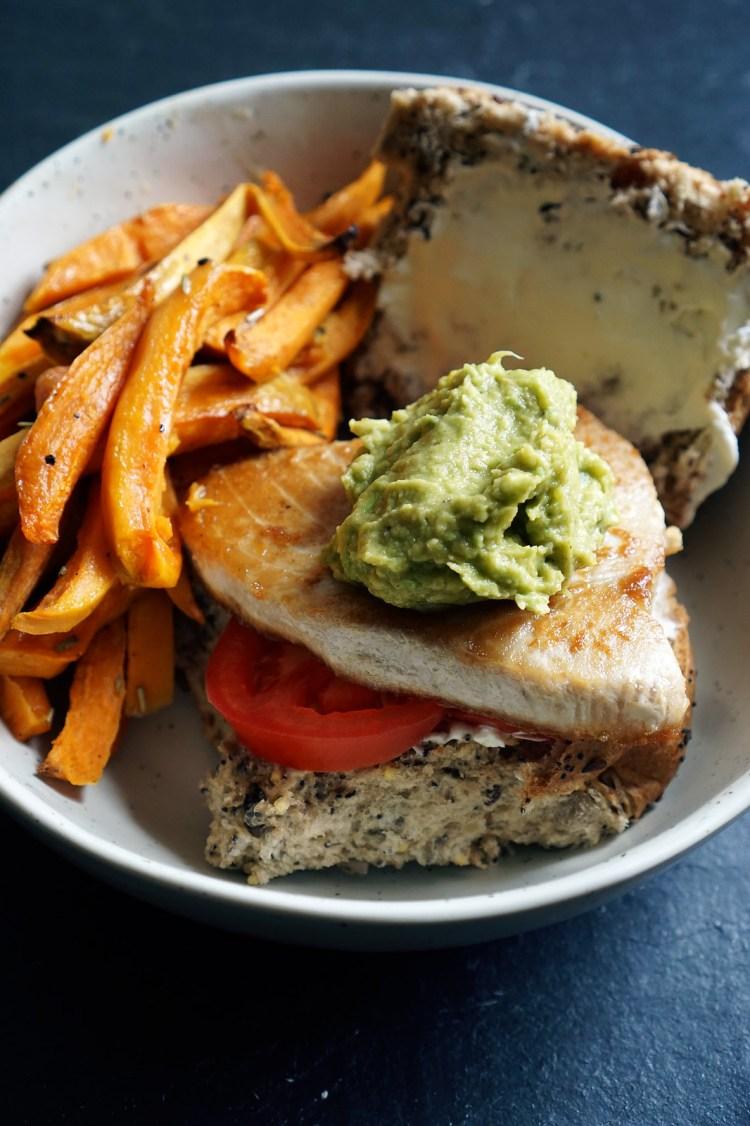 Tuna steak and guacamole burger with sweet potato fries - gluten free tuna steak guacamole burgers