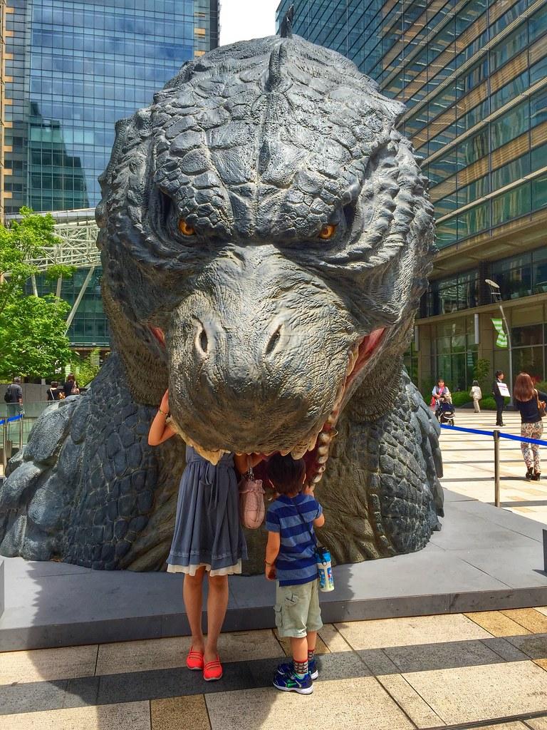 Godzilla devoring kids at Roppongi Midtown
