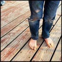 Barefoot Boy Feet Hide In