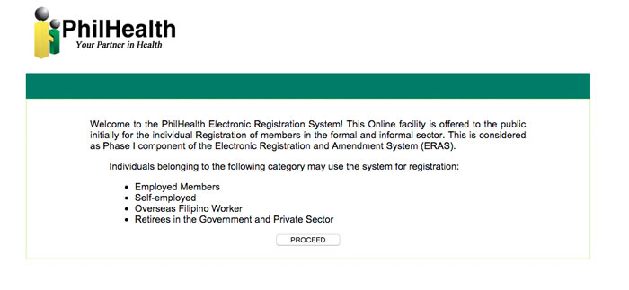 PhilHealth Online Registration step 1