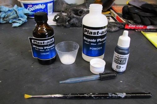 Plast-Aid and Black Acrylic Paint for Tinting
