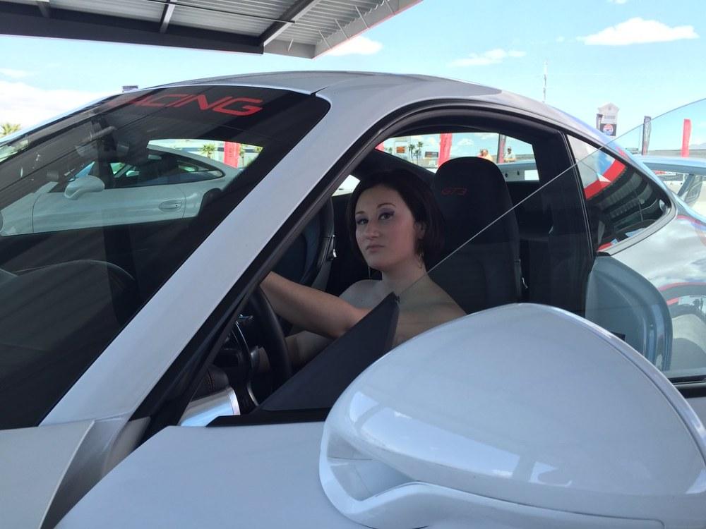 Rachel in a Porsche GT-3