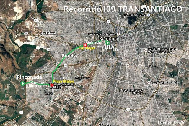 Recorrido I09 Transantiago