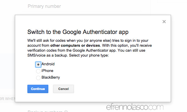 How to add security to google account step 3