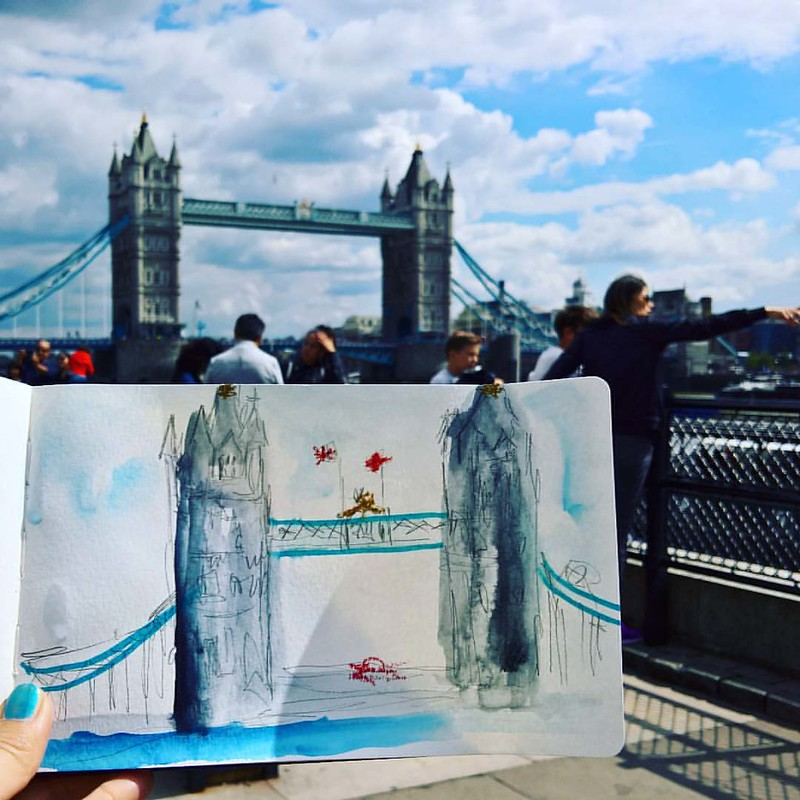 Realised my last #DailyArt post was from Day 219. It has been so hectic, so haven't had time to post more. Now, here's my first attemp at urban sketching in London. Unfinished sketch of Tower Bridge after a tour of Tower of London, on Day 222. And Day 2 o