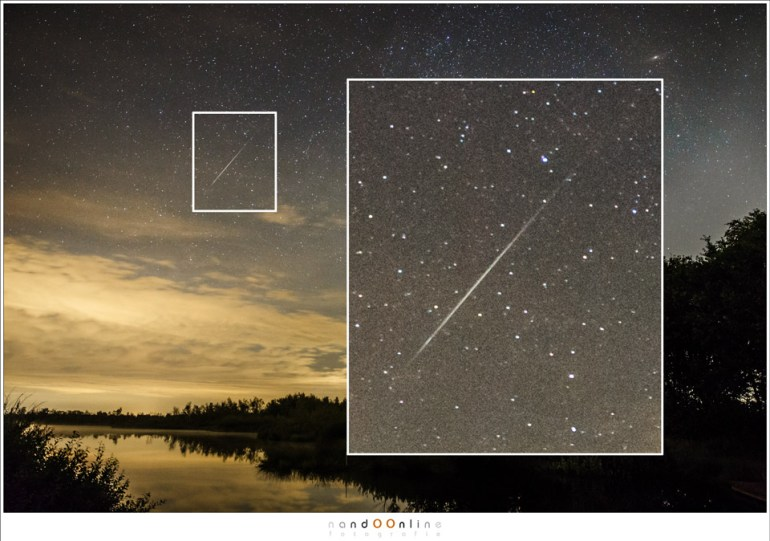 Een echte vallende ster, waarbij de typische vorm van het lichtspoor duidelijk te zien is. Vaak is dit spoor ook nog groen getint. (EOS 1Dx met Ef24-70mm f/2,8L II @ 24mm | ISO6400 | f/2,8 | 10 sec)