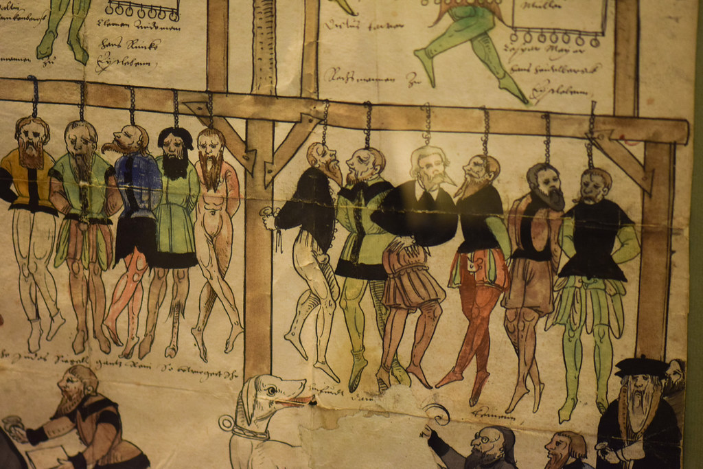 Medieval ilustration of a mass hanging  Rothenburg