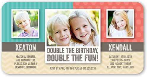 Patterned Pair Twin Birthday Party Invitations Shutterfly