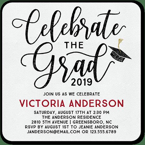 Celebratory Script 5x5 Graduation Party Invitations