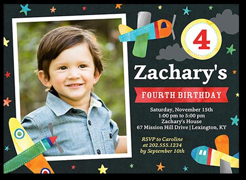airplane spectacle 5x7 boy birthday invitations shutterfly