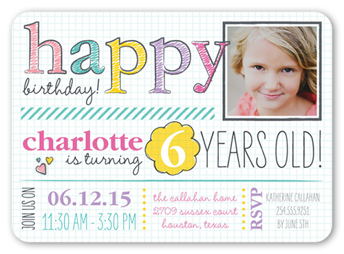 handwritten happy girl teen birthday invitations shutterfly