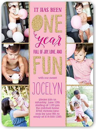 one and fun baby girl 1st birthday invitation shutterfly