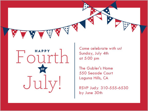Star Stripe Banners 4x5 Invitation Card Party