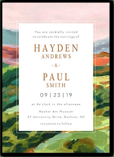 painted landscape wedding invitations