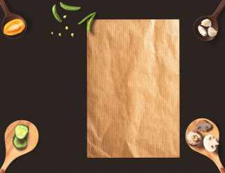 HD wallpaper: brown paper menu background wooden spoon eat peas tomato Wallpaper Flare
