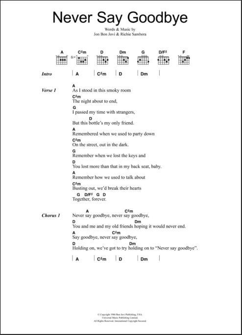 Chord Goodbye : chord, goodbye, Never, Goodbye, Guitar, Chords/Lyrics, ZZounds