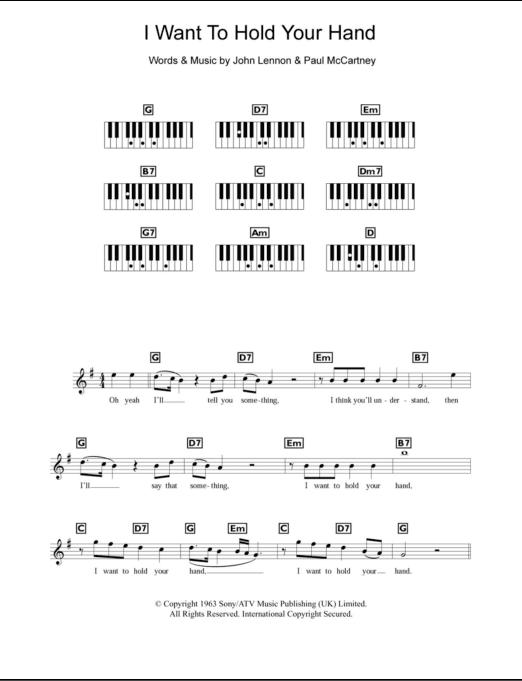 I Wanna Hold Your Hand Chord : wanna, chord, Piano, Chords/Lyrics, ZZounds