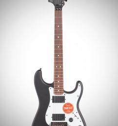 squier contemporary active stratocaster hh electric guitar flat black full straight front  [ 2012 x 3200 Pixel ]