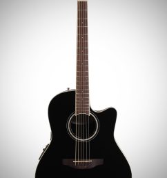 ovation cs24 celebrity standard acoustic electric guitar black full straight front  [ 2012 x 3200 Pixel ]