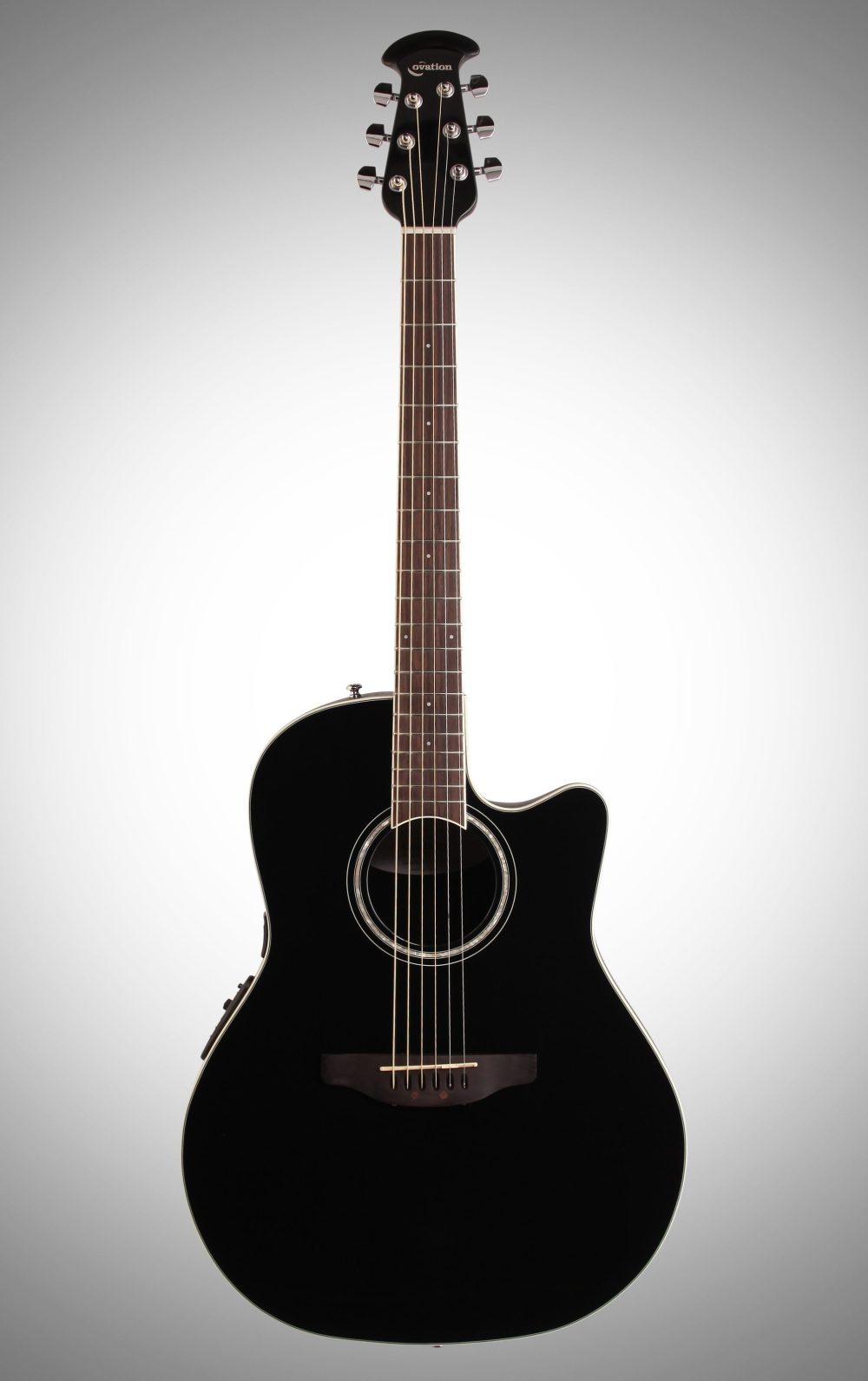medium resolution of ovation cs24 celebrity standard acoustic electric guitar black full straight front