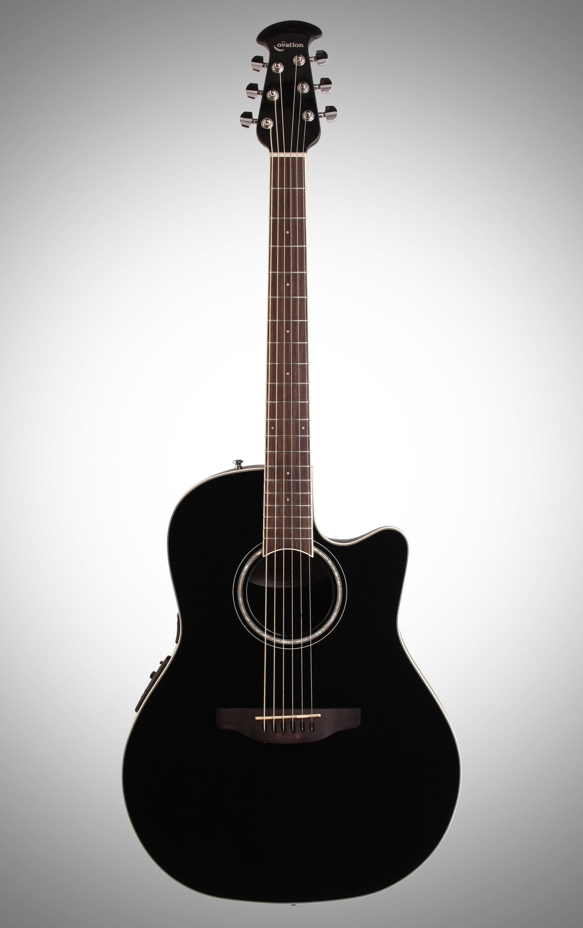 hight resolution of ovation cs24 celebrity standard acoustic electric guitar black full straight front