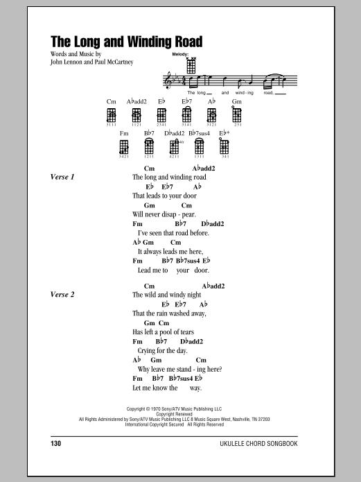 The Long And Winding Road Ukulele ChordsLyrics ZZounds
