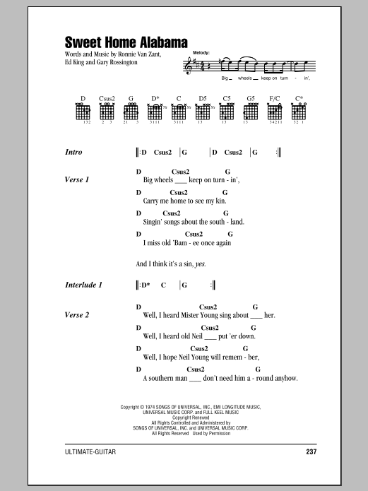 Don't forget to use the. Sweet Home Alabama Guitar Chords Lyrics Zzounds