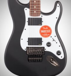 squier contemporary active stratocaster hh electric guitar flat black body straight front  [ 2012 x 3200 Pixel ]
