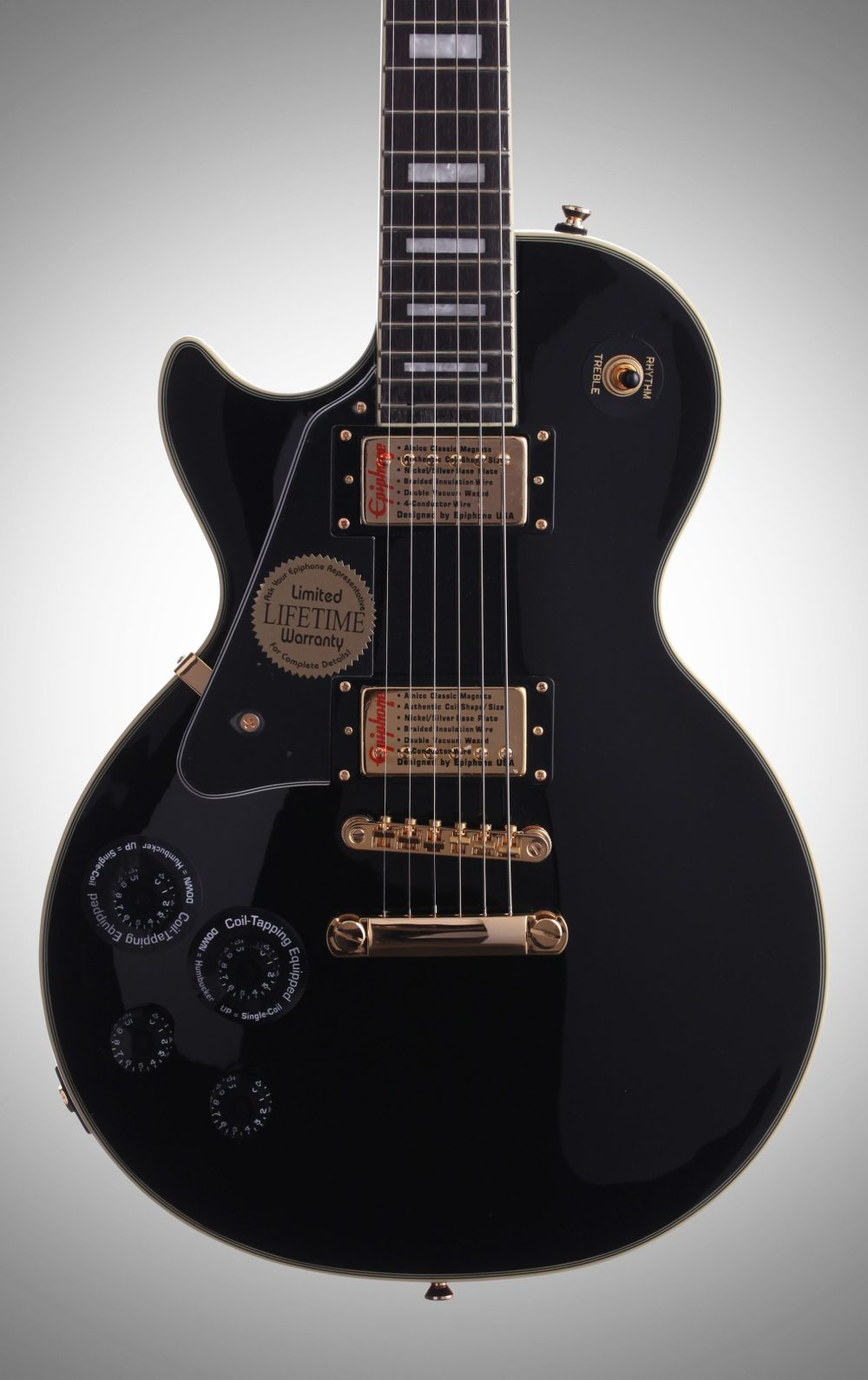 medium resolution of epiphone les paul custom pro left handed electric guitar ebony body straight front