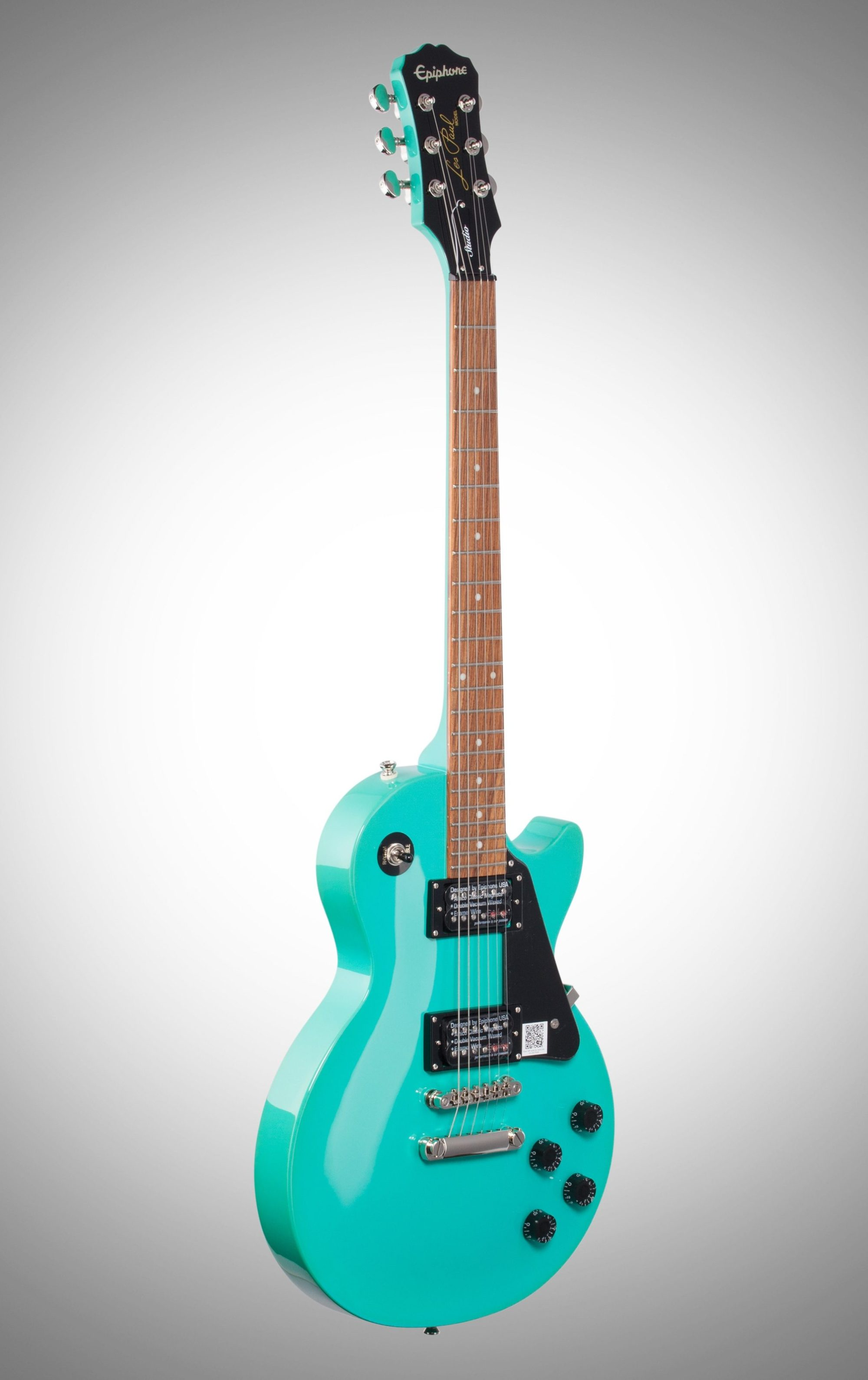 hight resolution of  epiphone les paul studio electric guitar turquoise body left front