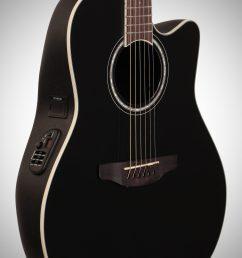 ovation cs24 celebrity standard acoustic electric guitar black full left front  [ 2012 x 3200 Pixel ]