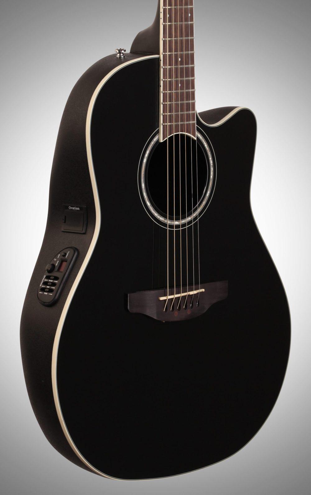 medium resolution of  ovation cs24 celebrity standard acoustic electric guitar black full left front