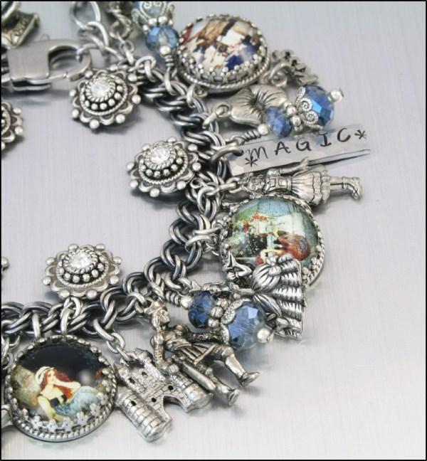 Charm Bracelet Silver Vintage Cinderella Fairytale