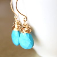Sleeping Beauty Turquoise Earrings Wirewrapped Gold Fill ...