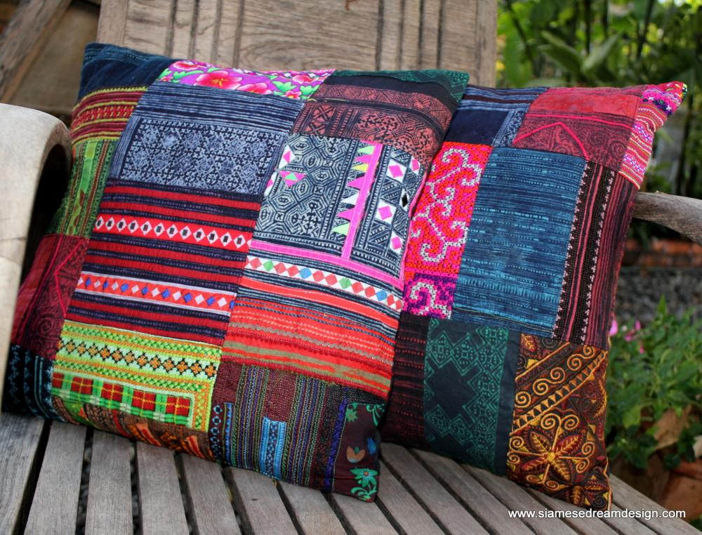 Patchwork Pillow Cushion Cover In Colorful Vintage Hmong