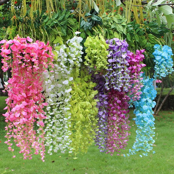 1-24pcs Artificial Wisteria Fake Garden Flowers Vines