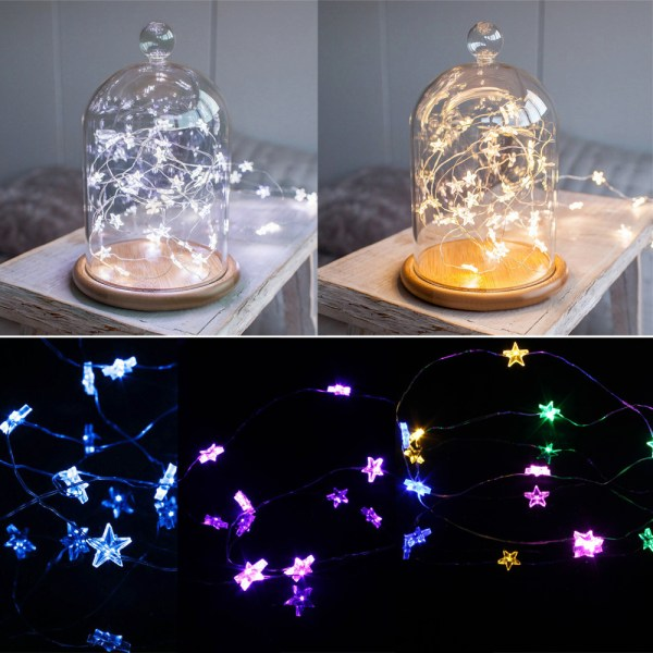 Battery Operated Mini Led Strings Copper Wire Star Fairy String Lights Static 5m