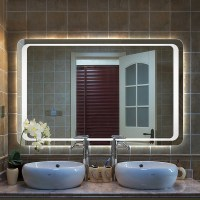Modern Large Heated White LED Illuminated Bathroom Mirror ...