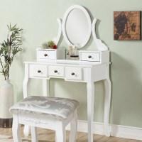 Shabby Chic Dressing Vanity Table Desk Oval Swivel Mirror ...