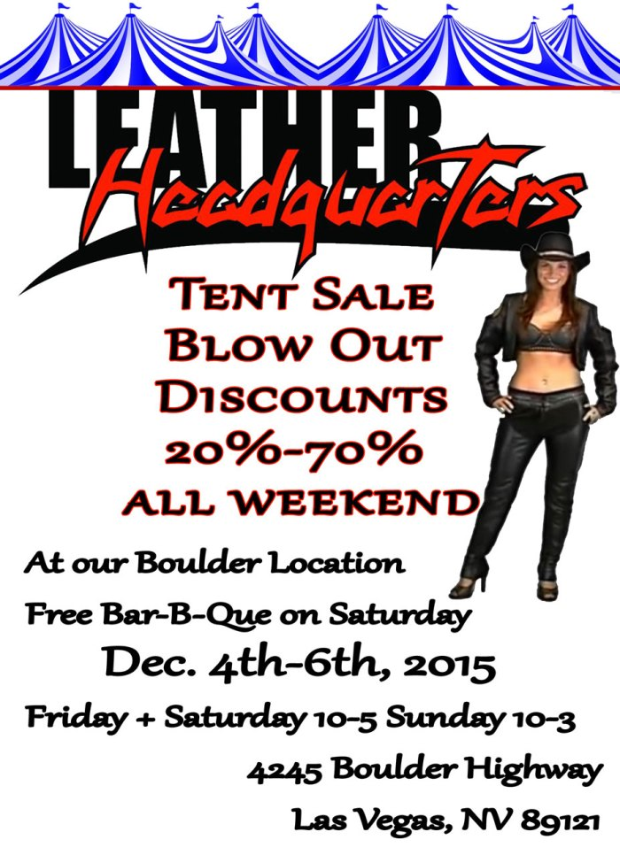 Leather Headquarters Tent Sale