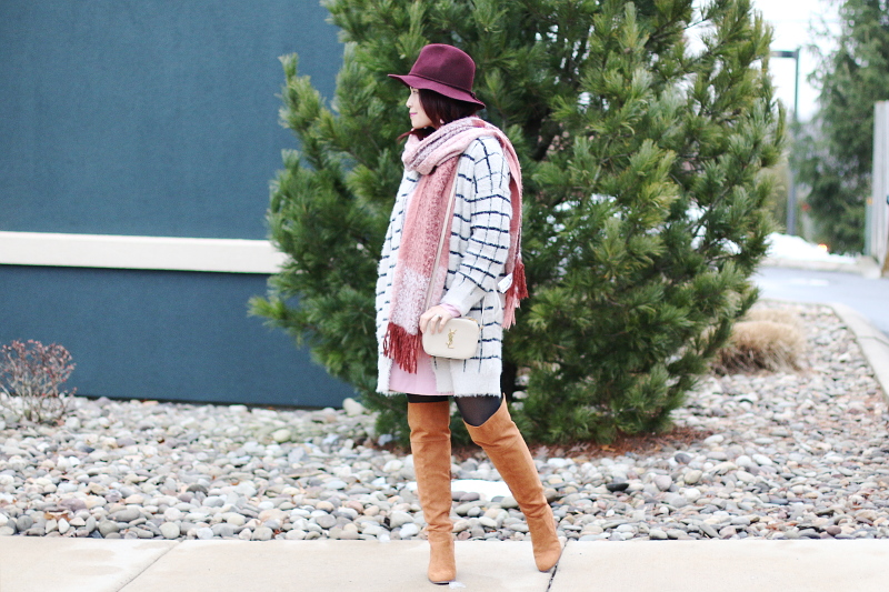 burgundy-hat-pink-scarf-window-pane-cardigan-otk-boots-ysl-bag-1
