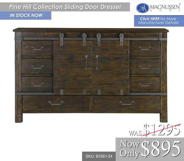Pine Hill Sliding Door Dresser B3561-24