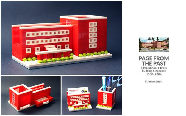 Artisan Bricks by Jeffrey Kong - LEGO Old National Library Building Singapore - Stationery Stand Card Holder Drawer Unit