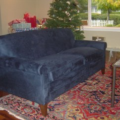 Navy Microfiber Sofa Younger Bed Blue New Upholstered In